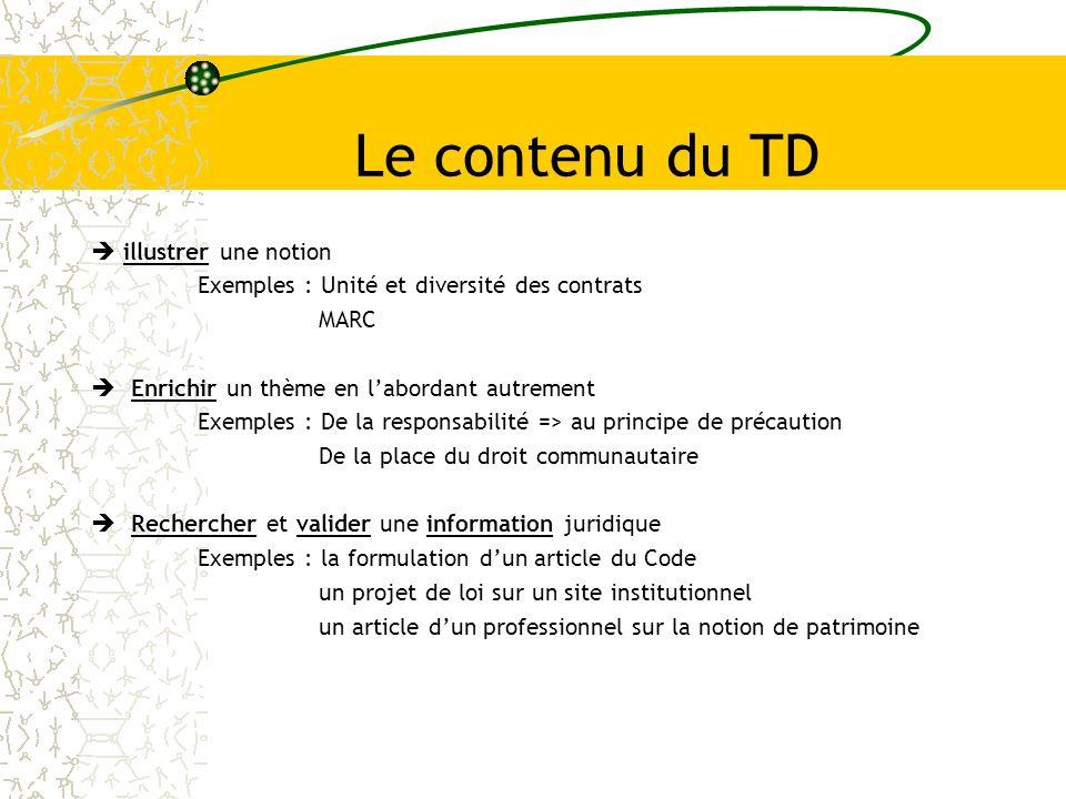Le contenu du TD illustrer une notion Exemples : Unité et diversité des contrats MARC Enrichir un thème en labordant autrement Exemples : De la respon
