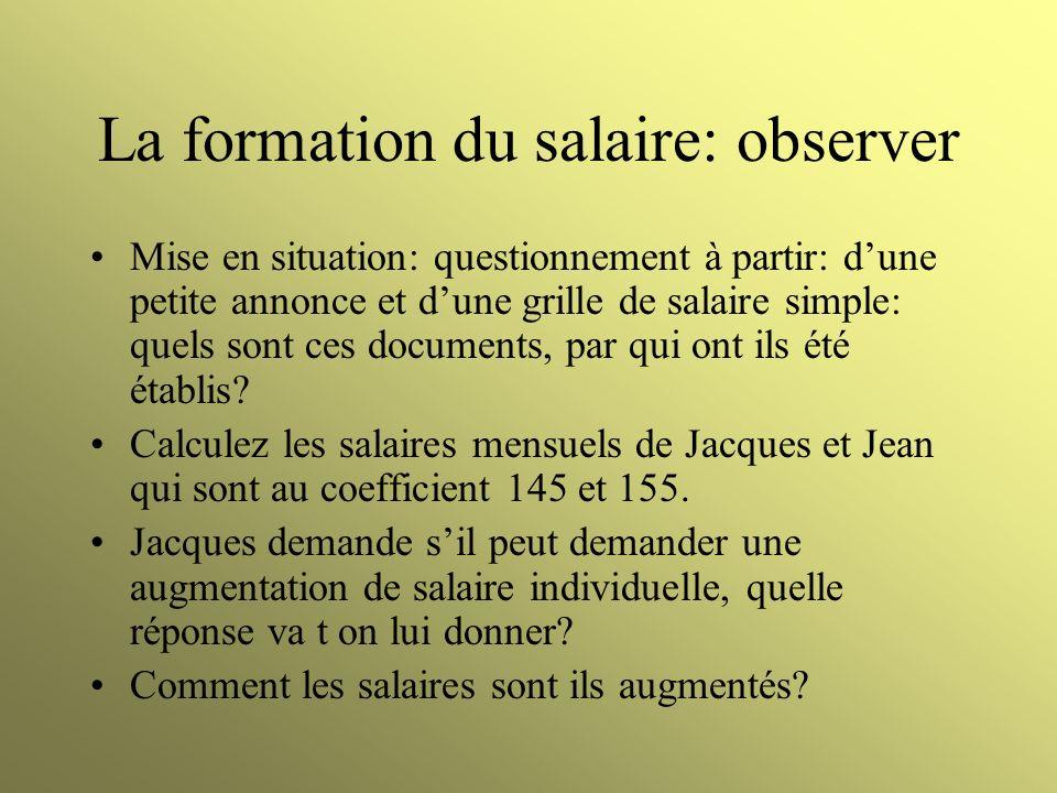 La formation du salaire: observer Mise en situation: questionnement à partir: dune petite annonce et dune grille de salaire simple: quels sont ces doc