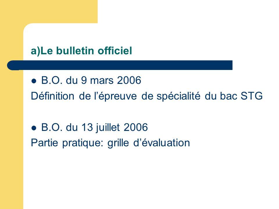 a)Le bulletin officiel B.O. du 9 mars 2006 Définition de lépreuve de spécialité du bac STG B.O. du 13 juillet 2006 Partie pratique: grille dévaluation