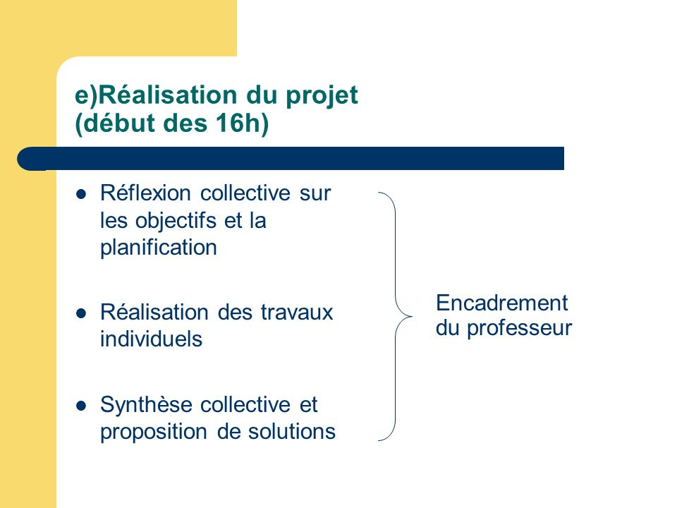 e)Réalisation du projet (début des 16h) Réflexion collective sur les objectifs et la planification Réalisation des travaux individuels Synthèse collec