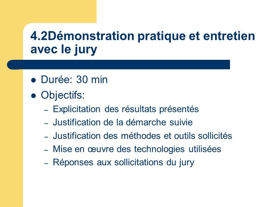 4.2Démonstration pratique et entretien avec le jury Durée: 30 min Objectifs: – Explicitation des résultats présentés – Justification de la démarche su