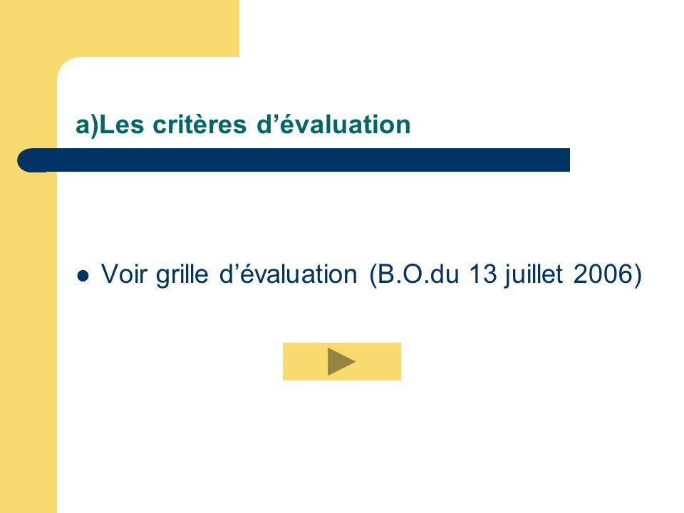 a)Les critères dévaluation Voir grille dévaluation (B.O.du 13 juillet 2006)