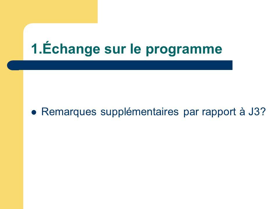 1.Échange sur le programme Remarques supplémentaires par rapport à J3?