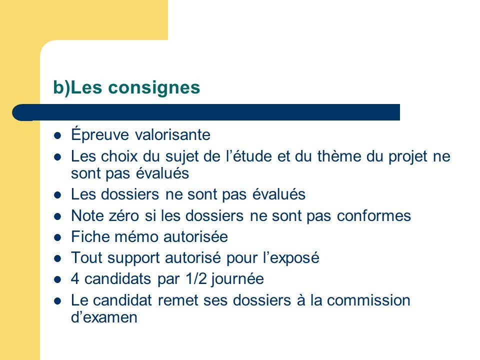 b)Les consignes Épreuve valorisante Les choix du sujet de létude et du thème du projet ne sont pas évalués Les dossiers ne sont pas évalués Note zéro