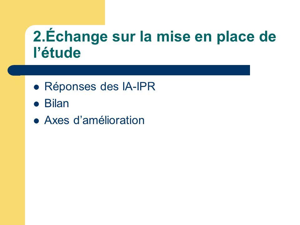 2.Échange sur la mise en place de létude Réponses des IA-IPR Bilan Axes damélioration