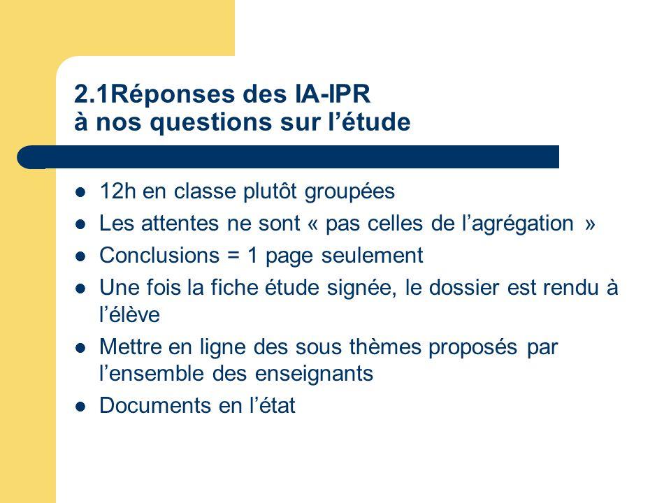 2.1Réponses des IA-IPR à nos questions sur létude 12h en classe plutôt groupées Les attentes ne sont « pas celles de lagrégation » Conclusions = 1 pag