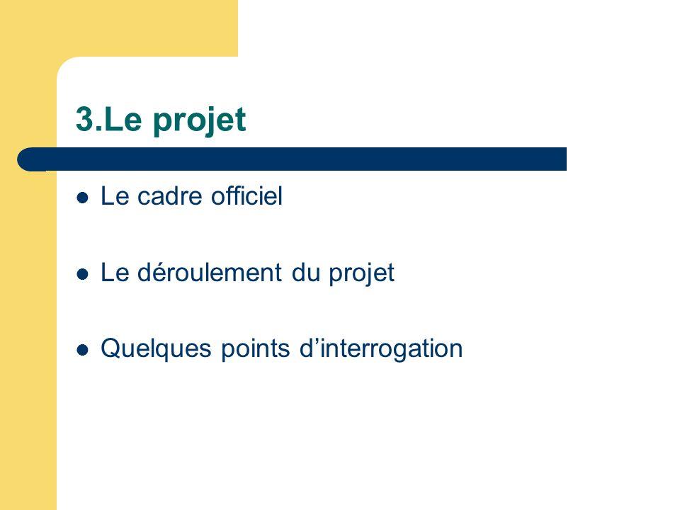 3.Le projet Le cadre officiel Le déroulement du projet Quelques points dinterrogation