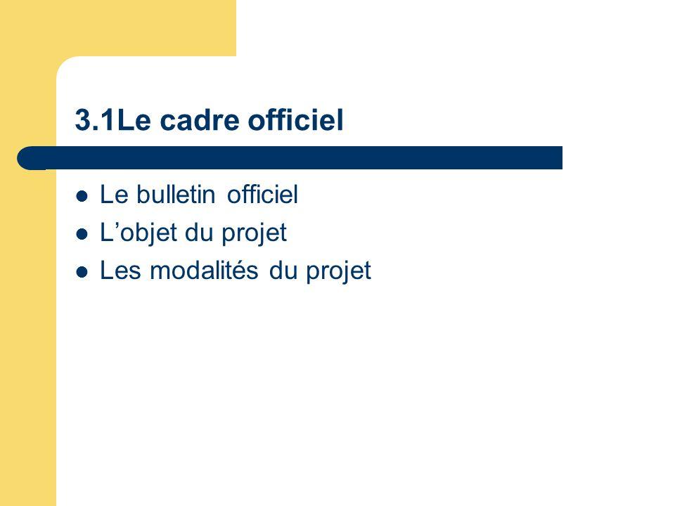 3.1Le cadre officiel Le bulletin officiel Lobjet du projet Les modalités du projet