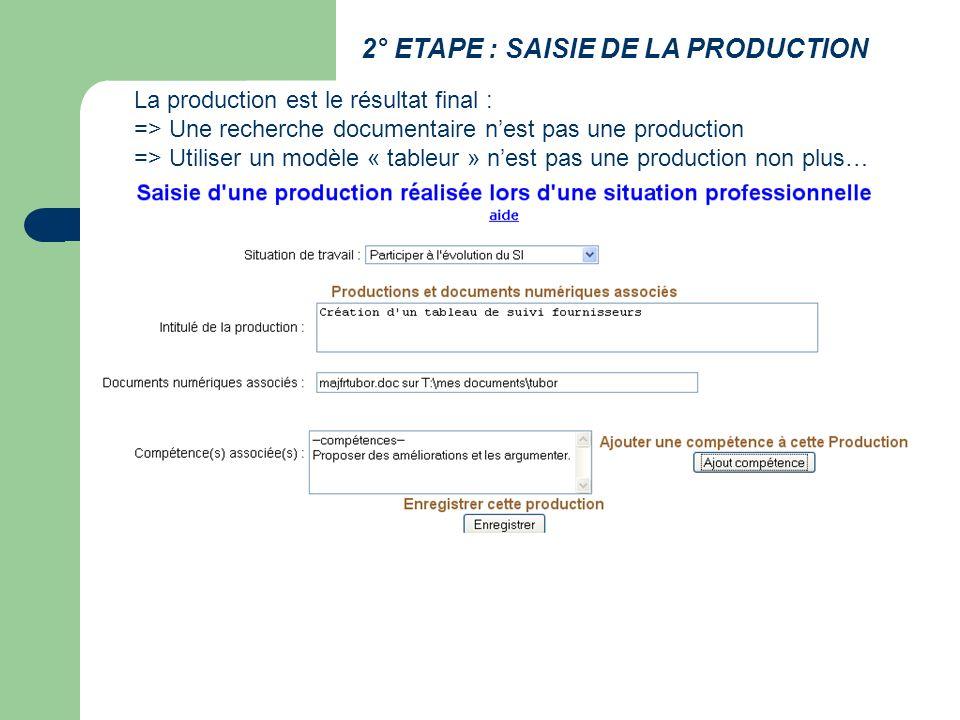 2° ETAPE : SAISIE DE LA PRODUCTION La production est le résultat final : => Une recherche documentaire nest pas une production => Utiliser un modèle « tableur » nest pas une production non plus…