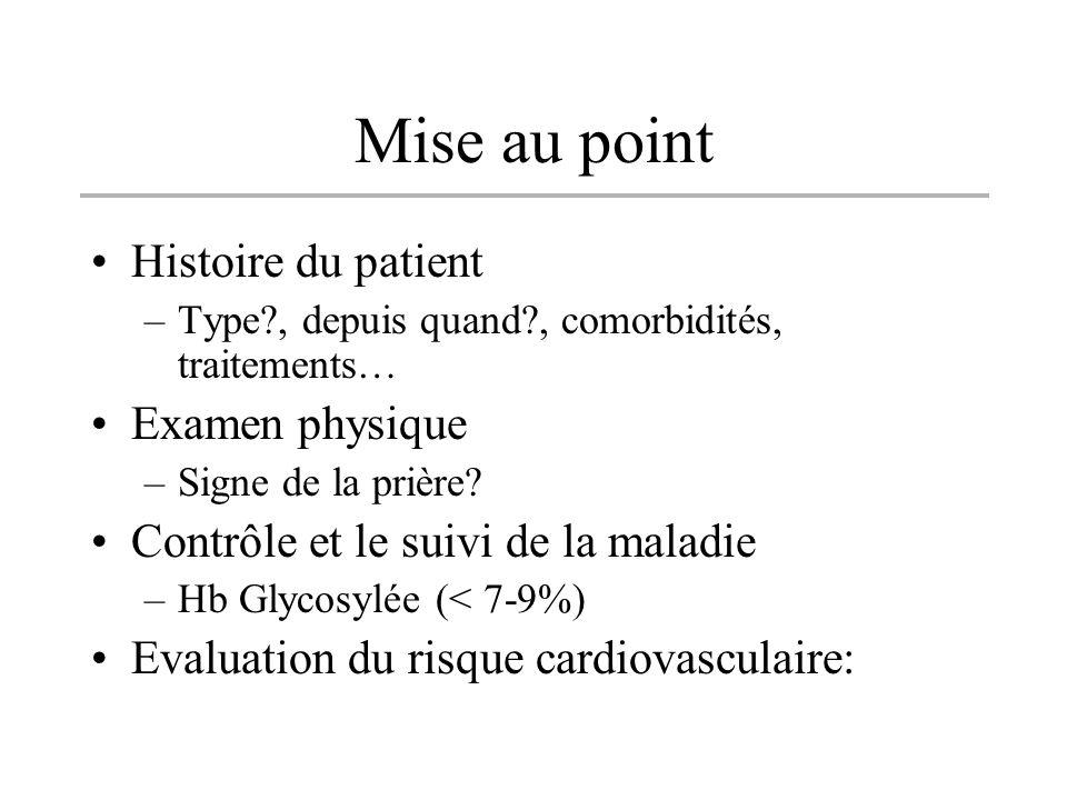 Mise au point Histoire du patient –Type?, depuis quand?, comorbidités, traitements… Examen physique –Signe de la prière? Contrôle et le suivi de la ma