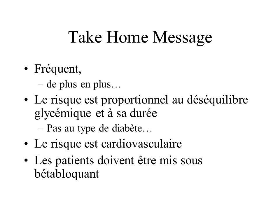Take Home Message Fréquent, –de plus en plus… Le risque est proportionnel au déséquilibre glycémique et à sa durée –Pas au type de diabète… Le risque