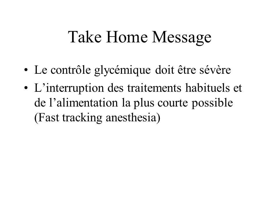Take Home Message Le contrôle glycémique doit être sévère Linterruption des traitements habituels et de lalimentation la plus courte possible (Fast tr