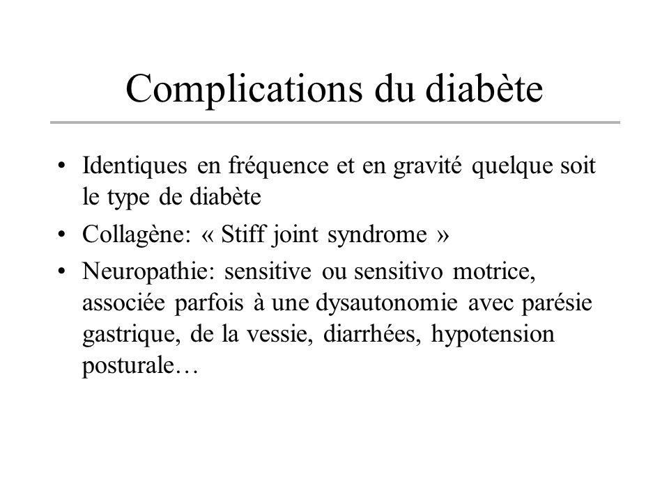 Complications du diabète Identiques en fréquence et en gravité quelque soit le type de diabète Collagène: « Stiff joint syndrome » Neuropathie: sensit