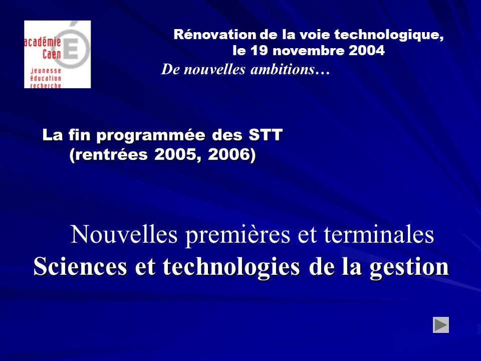 La fin programmée des STT (rentrées 2005, 2006) Rénovation de la voie technologique, le 19 novembre 2004 De nouvelles ambitions… Nouvelles premières et terminales Sciences et technologies de la gestion