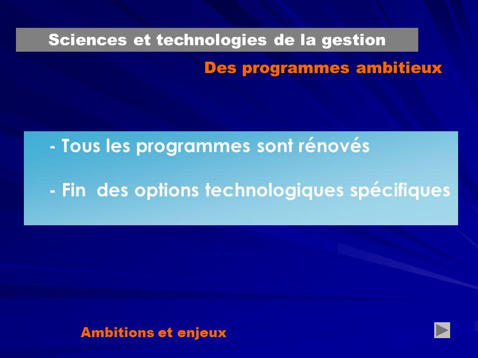 Des programmes ambitieux - Tous les programmes sont rénovés - Fin des options technologiques spécifiques Ambitions et enjeux … Sciences et technologies de la gestion