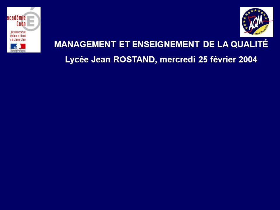 Démarche Qualité de lAcadémie de CAEN en Formation Continue des Adultes MANAGEMENT ET ENSEIGNEMENT DE LA QUALITÉ Lycée Jean ROSTAND, mercredi 25 février 2004