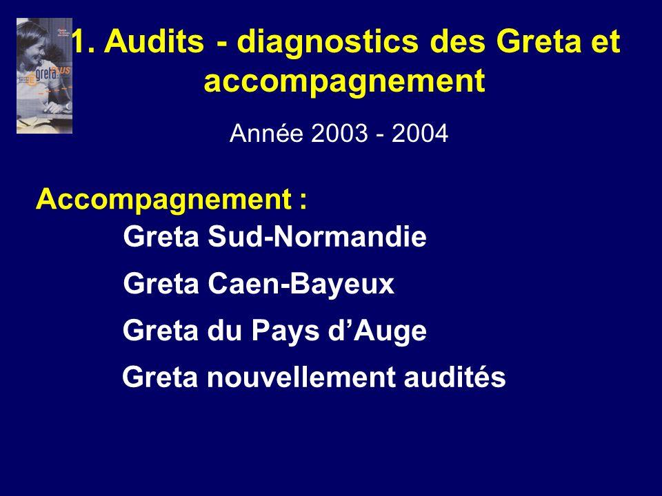 Accompagnement : Greta Sud-Normandie Greta Caen-Bayeux Greta du Pays dAuge 1. Audits - diagnostics des Greta et accompagnement Année 2003 - 2004 Greta