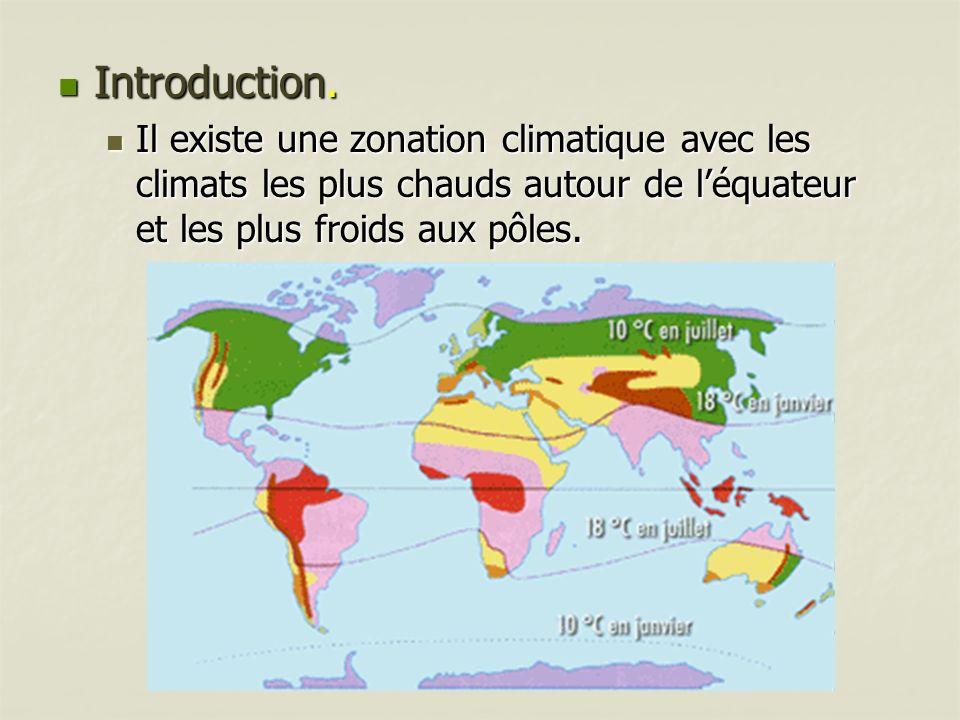 Introduction. Introduction. Il existe une zonation climatique avec les climats les plus chauds autour de léquateur et les plus froids aux pôles. Il ex