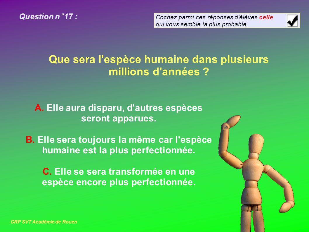 Question n° 17 : Que sera l espèce humaine dans plusieurs millions d années .