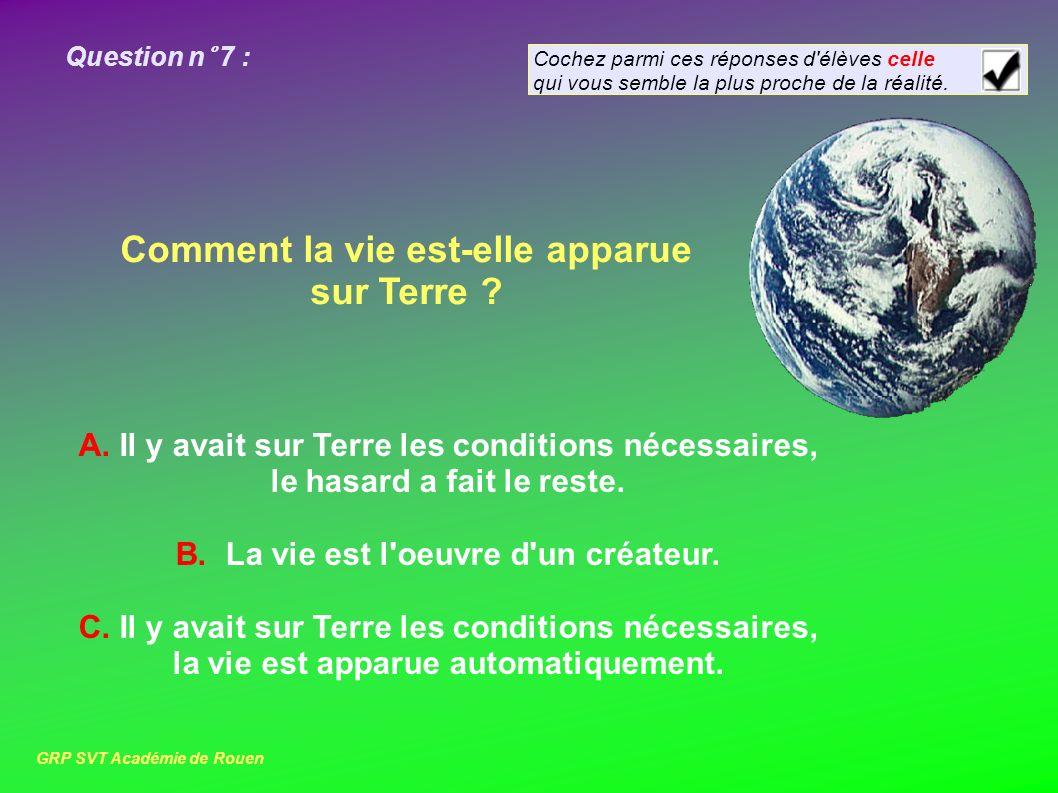 Question n° 7 : Comment la vie est-elle apparue sur Terre .