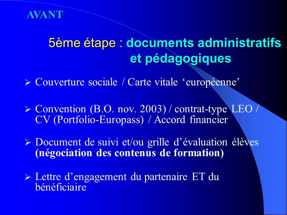 4ème étape : rédaction projet (janvier/février) (Si candidature Leonardo) AVANT
