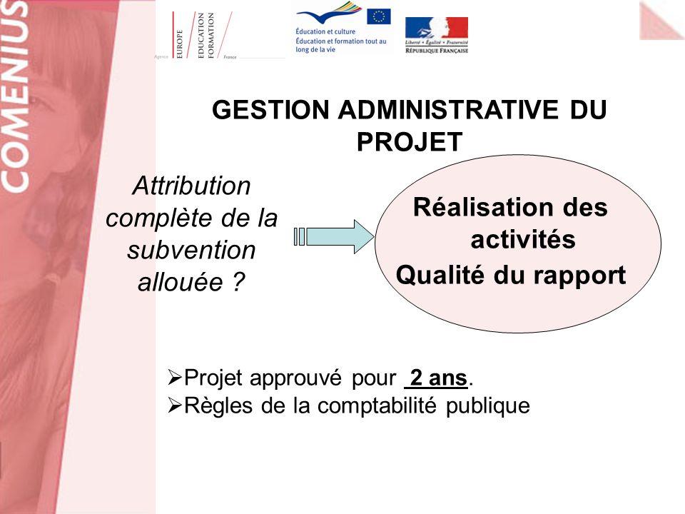 Réalisation des activités Qualité du rapport Projet approuvé pour 2 ans. Règles de la comptabilité publique Attribution complète de la subvention allo