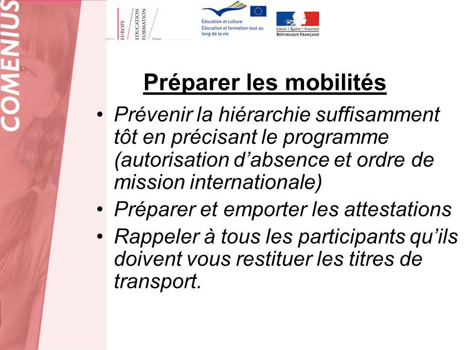 Préparer les mobilités Prévenir la hiérarchie suffisamment tôt en précisant le programme (autorisation dabsence et ordre de mission internationale) Pr