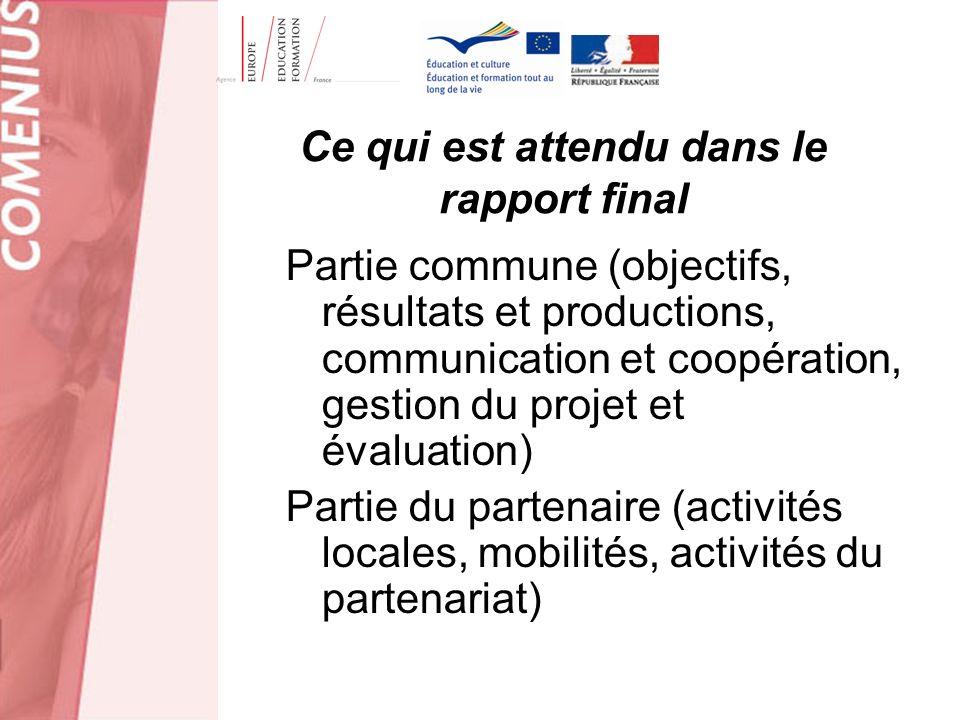 Ce qui est attendu dans le rapport final Partie commune (objectifs, résultats et productions, communication et coopération, gestion du projet et évalu