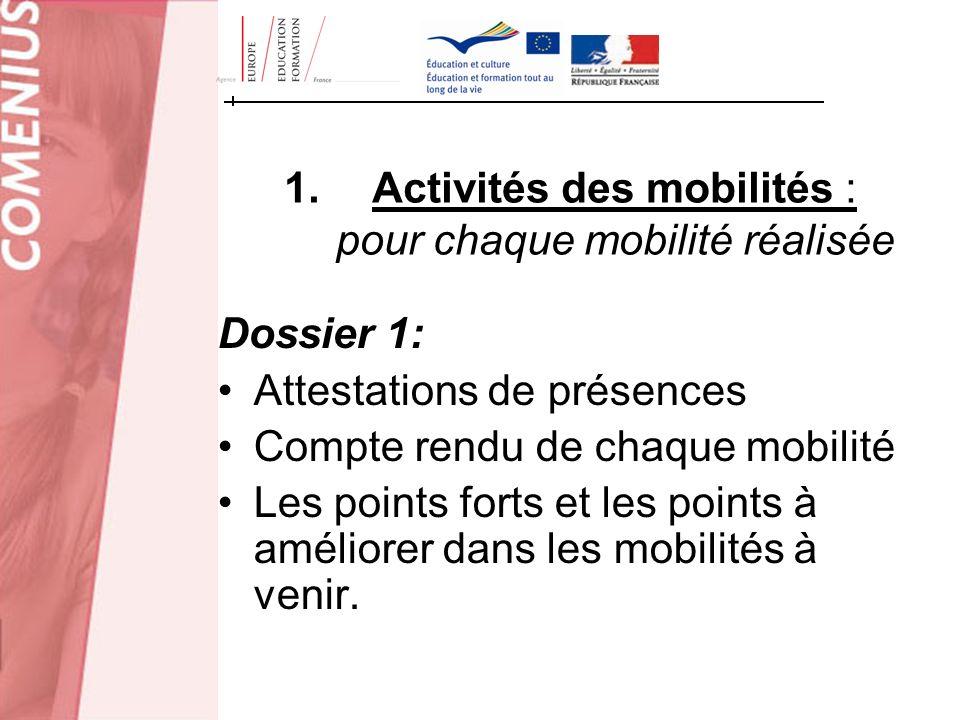 1.Activités des mobilités : pour chaque mobilité réalisée Dossier 1: Attestations de présences Compte rendu de chaque mobilité Les points forts et les