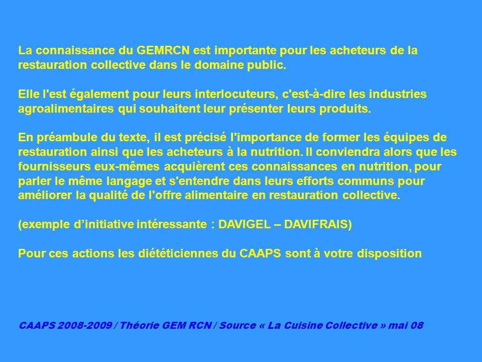 La connaissance du GEMRCN est importante pour les acheteurs de la restauration collective dans le domaine public. Elle l'est également pour leurs inte