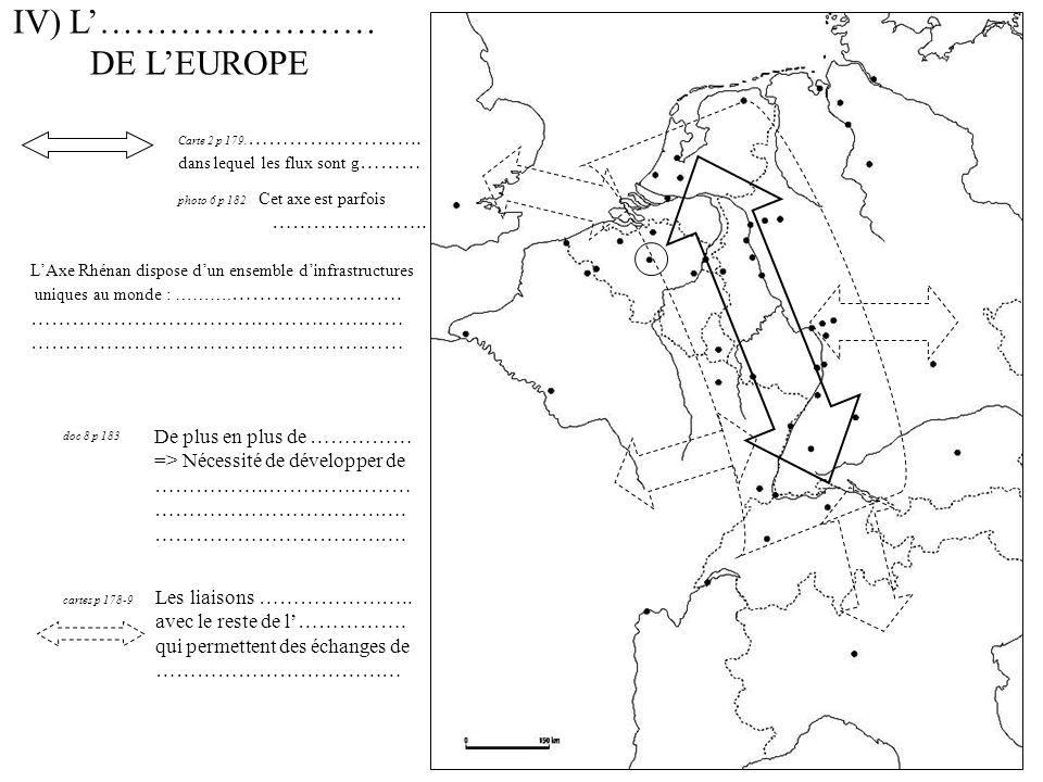 IV) L…………………… DE LEUROPE LAxe Rhénan dispose dun ensemble dinfrastructures uniques au monde : ……….