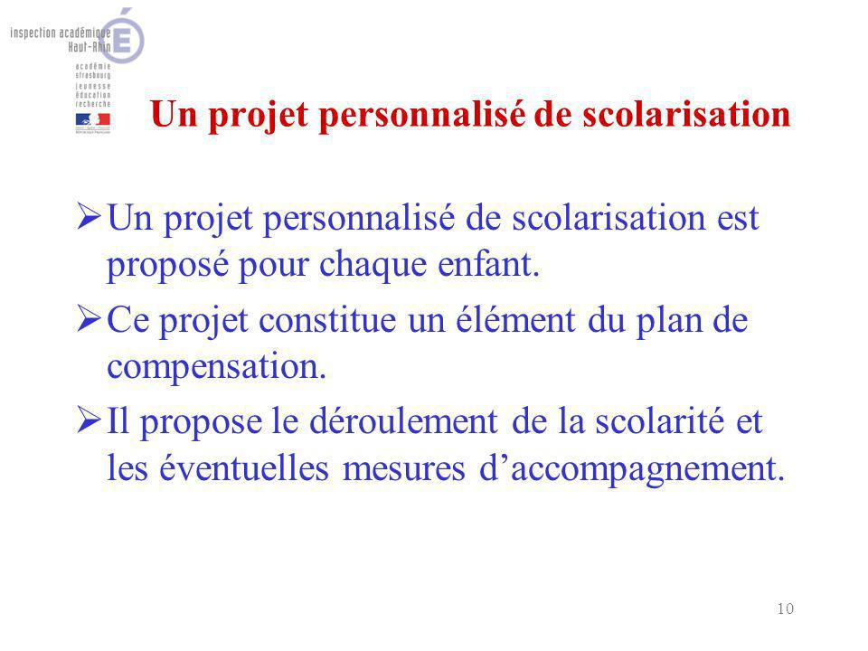 10 Un projet personnalisé de scolarisation Un projet personnalisé de scolarisation est proposé pour chaque enfant. Ce projet constitue un élément du p