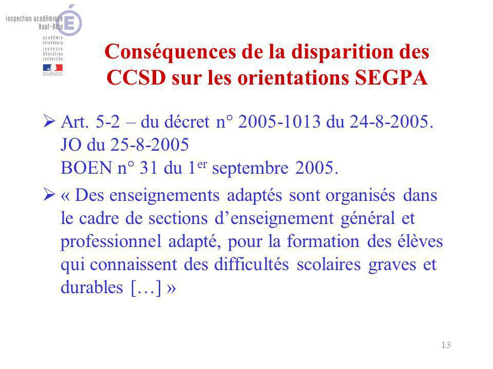 13 Conséquences de la disparition des CCSD sur les orientations SEGPA Art. 5-2 – du décret n° 2005-1013 du 24-8-2005. JO du 25-8-2005 BOEN n° 31 du 1