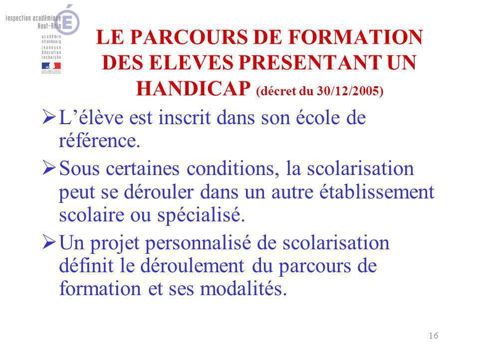 16 LE PARCOURS DE FORMATION DES ELEVES PRESENTANT UN HANDICAP (décret du 30/12/2005) Lélève est inscrit dans son école de référence.