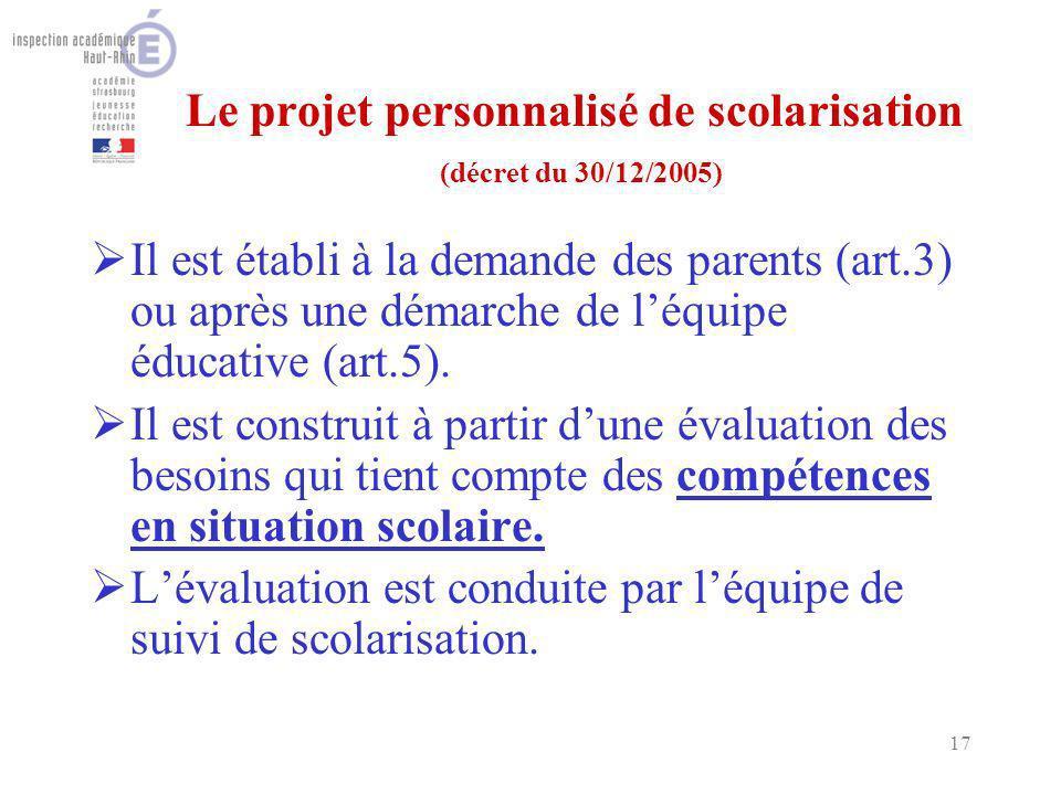 17 Le projet personnalisé de scolarisation (décret du 30/12/2005) Il est établi à la demande des parents (art.3) ou après une démarche de léquipe éducative (art.5).