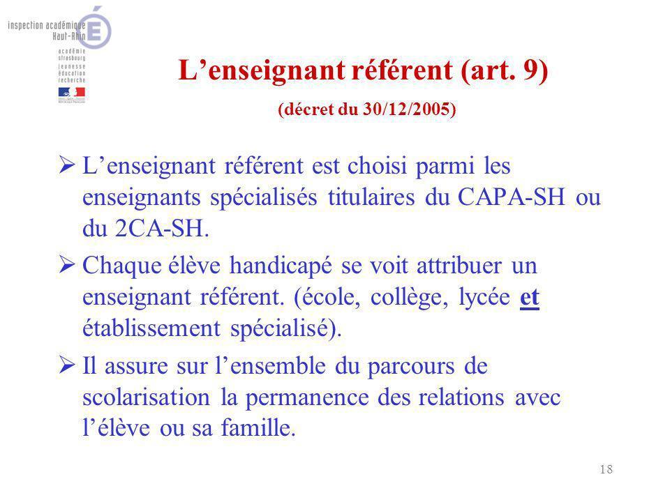 18 Lenseignant référent (art. 9) (décret du 30/12/2005) Lenseignant référent est choisi parmi les enseignants spécialisés titulaires du CAPA-SH ou du