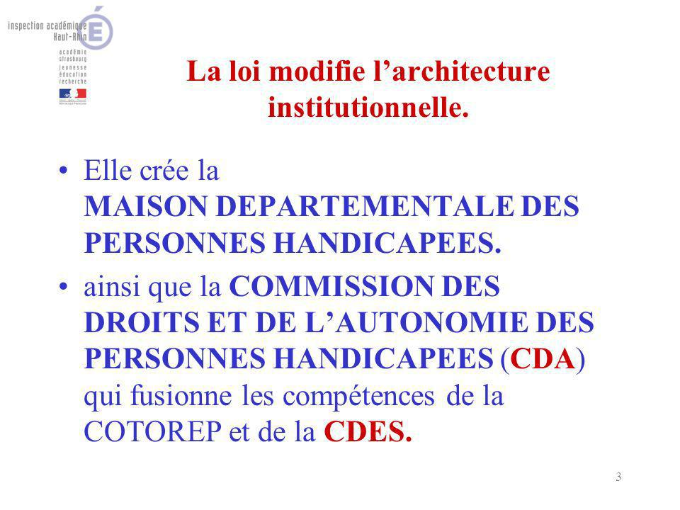 3 La loi modifie larchitecture institutionnelle.