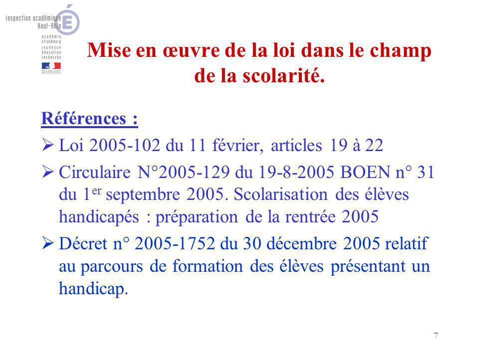7 Mise en œuvre de la loi dans le champ de la scolarité. Références : Loi 2005-102 du 11 février, articles 19 à 22 Circulaire N°2005-129 du 19-8-2005