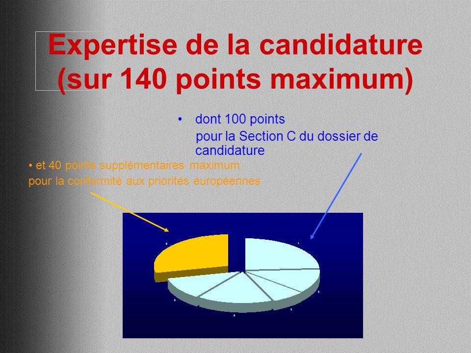 Expertise de la candidature (sur 140 points maximum) dont 100 points pour la Section C du dossier de candidature et 40 points supplémentaires maximum pour la conformité aux priorités européennes
