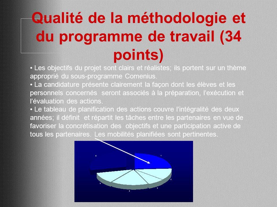 Qualité de la méthodologie et du programme de travail (34 points) Les objectifs du projet sont clairs et réalistes; ils portent sur un thème approprié du sous-programme Comenius.