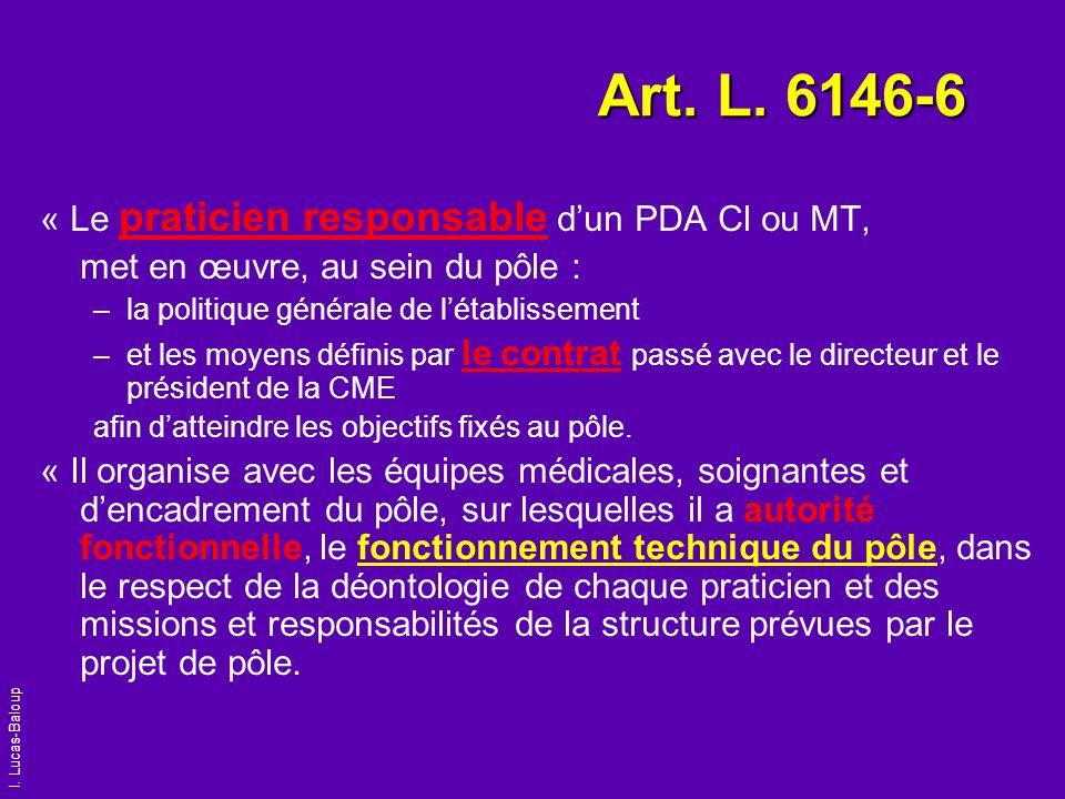 I. Lucas-Baloup Art. L. 6146-6 « Le praticien responsable dun PDA Cl ou MT, met en œuvre, au sein du pôle : –la politique générale de létablissement –