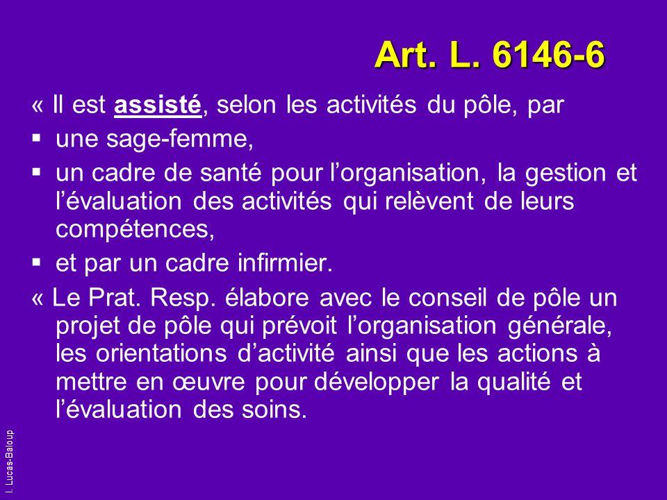 I. Lucas-Baloup Art. L. 6146-6 « Il est assisté, selon les activités du pôle, par une sage-femme, un cadre de santé pour lorganisation, la gestion et