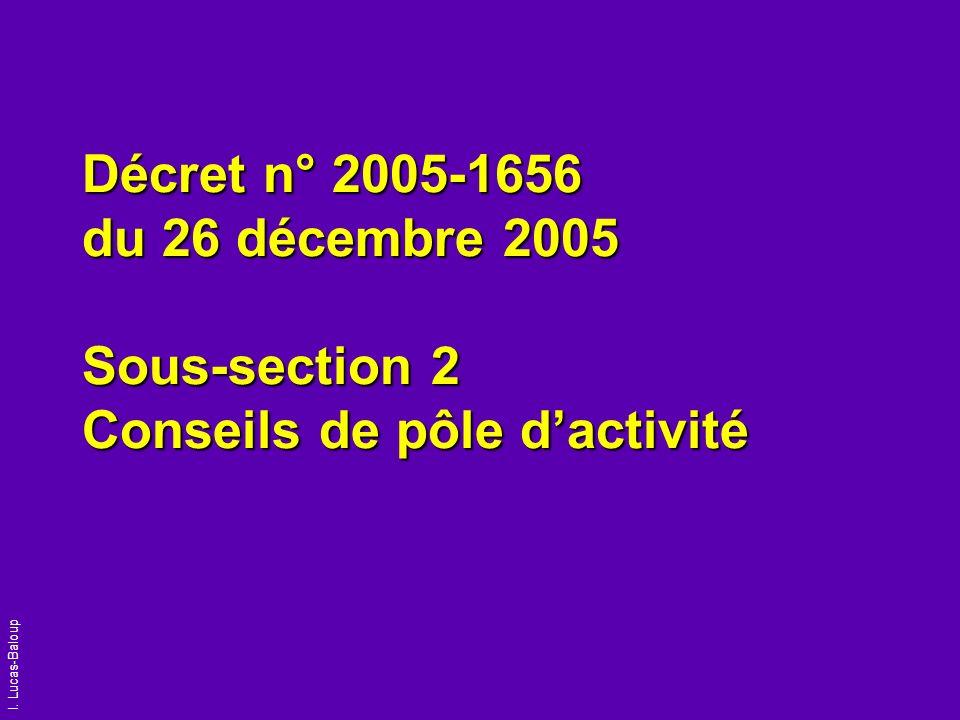 I. Lucas-Baloup Décret n° 2005-1656 du 26 décembre 2005 Sous-section 2 Conseils de pôle dactivité