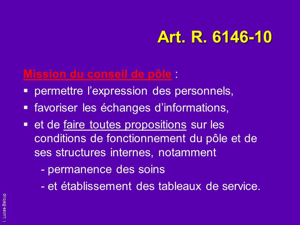 I. Lucas-Baloup Art. R. 6146-10 Mission du conseil de pôle : permettre lexpression des personnels, favoriser les échanges dinformations, et de faire t