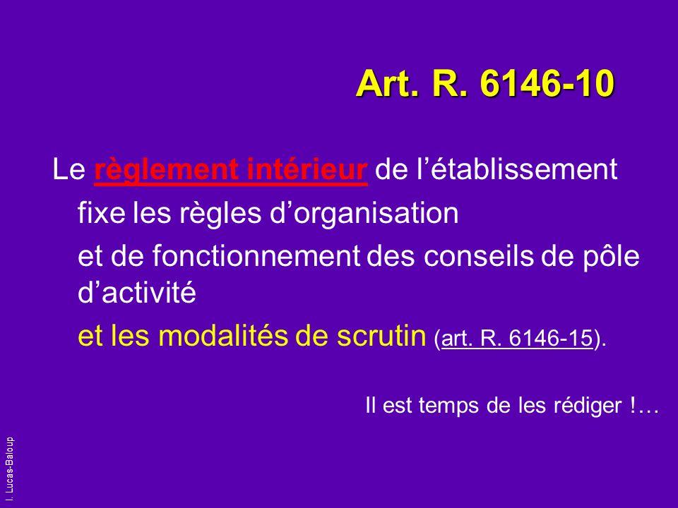 I. Lucas-Baloup Art. R. 6146-10 Le règlement intérieur de létablissement fixe les règles dorganisation et de fonctionnement des conseils de pôle dacti