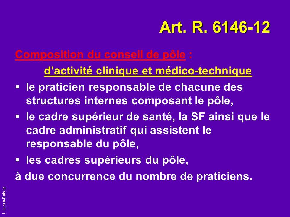 I. Lucas-Baloup Art. R. 6146-12 Composition du conseil de pôle : dactivité clinique et médico-technique le praticien responsable de chacune des struct