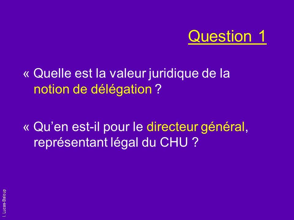 I. Lucas-Baloup Question 1 « Quelle est la valeur juridique de la notion de délégation ? « Quen est-il pour le directeur général, représentant légal d