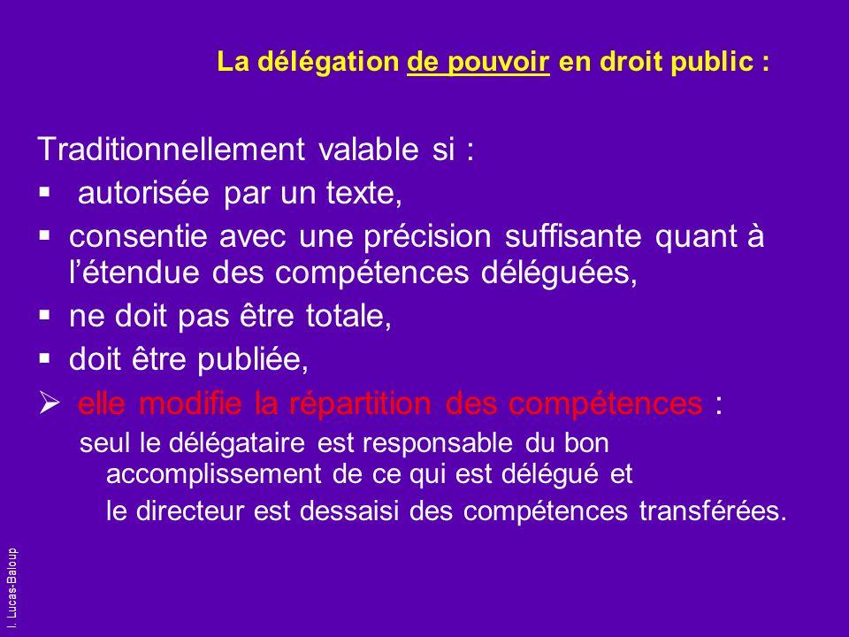 I. Lucas-Baloup La délégation de pouvoir en droit public : Traditionnellement valable si : autorisée par un texte, consentie avec une précision suffis