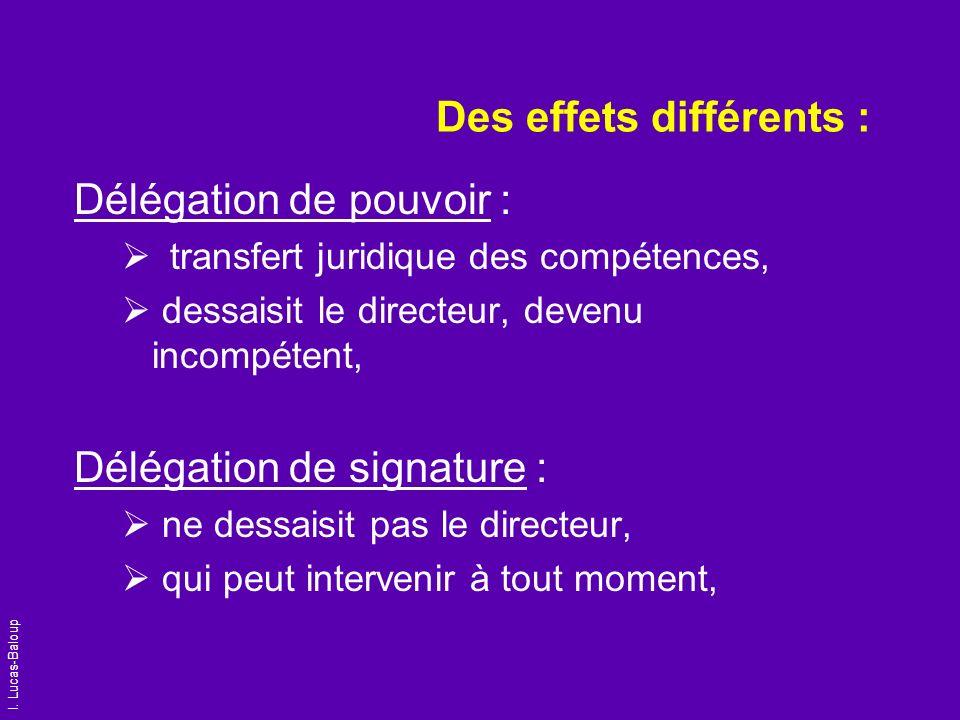 I. Lucas-Baloup Des effets différents : Délégation de pouvoir : transfert juridique des compétences, dessaisit le directeur, devenu incompétent, Délég