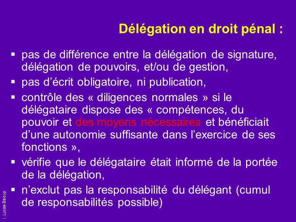 I. Lucas-Baloup Délégation en droit pénal : pas de différence entre la délégation de signature, délégation de pouvoirs, et/ou de gestion, pas décrit o